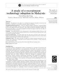 a study of e u2010recruitment technology adoption in malaysia