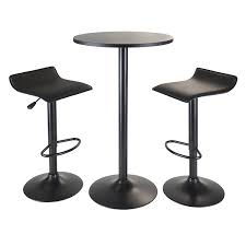White Round Table And Chairs by Amazon Com Winsome Obsidian 3 Piece Pub Set With Round Table And