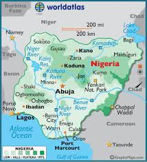 africa map color nigeria large color map