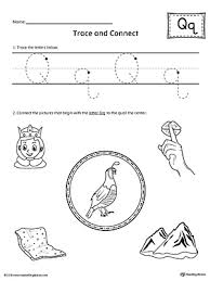 trace letter q and connect pictures worksheet myteachingstation com