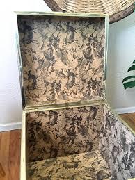 vintage gold metal brass woven wicker rattan campaign storage