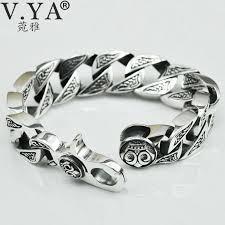man silver bracelet jewelry images V ya pure handmade men jewelry 100 925 sterling silver bracelet jpg