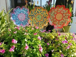 metal flower garden stake large garden decor gift for