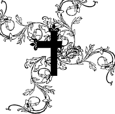 christian cross with flowers domain vectors