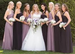 Color Aubergine Bridesmaids In Alfred Angelo Modern Vintage Style 8615l In Plum