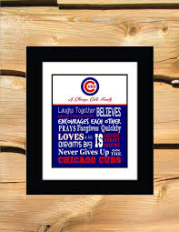 Family House Rules by Cubs Family House Rules Chicago Family Baseball Gift Art