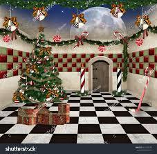 surreal christmas illustration tree gifts stock illustration