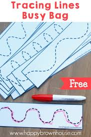 tracing lines busy bag free printable happy brown house