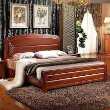 Full Double Bed Chinese Wood Bed 1518 Meters High Simple Oak Double Bed Furniture