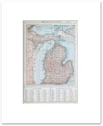 Michigan Map With Cities And Towns by States H M Vintage Maps