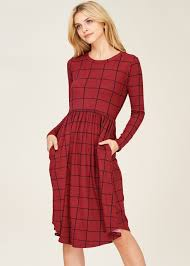 fit and flare dress portia plaid fit flare dress with pockets wine modli