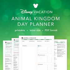 printable disney planning guide disney vacation animal kingdom planner daily planning sheet