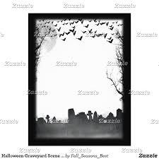 halloween graveyard scene silhouette flyer by fallseasonsbest