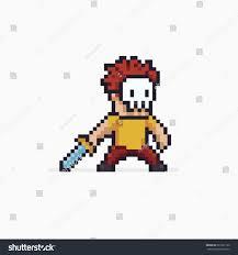 pixel halloween skeleton background pixel art red haired warrior skeleton stock vector 661627120