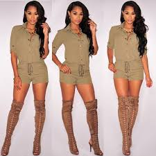 one shorts jumpsuit fashion 2016 casual turn collar rompers womens