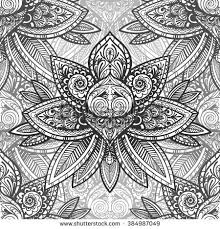 Indian Flower Design Vector Black White Indian Flower Seamless Stock Vector 384987076