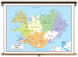 World Map With Coordinates by Iceland Political Educational Wall Map From Academia Maps