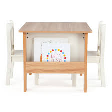 Play Table With Storage And Chairs Tot Tutors Journey Wood Table And 2 Chairs Set With Book Storage
