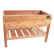 rock solid cedar planter with bottom shelf eartheasy com