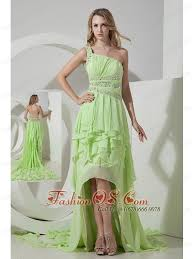 beautiful light green one shoulder prom dress high low 165 89