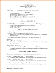 Clinical Resume Examples by Cna Resume Skills 19 Nursing Assistant Resume Sample Free Example
