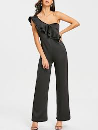 s one jumpsuit jumpsuits black s one shoulder ruffle wide leg jumpsuit gamiss