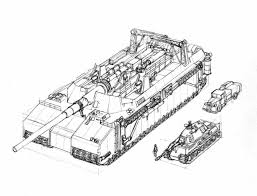 sketch of a landkreuzer p 1500 monster next to a tiger ii tanks