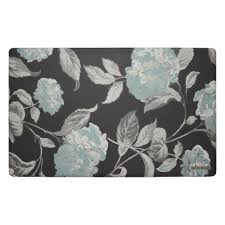 Grey And White Kitchen Rugs Hydrangea Gray 20 In X 32 In Memory Foam
