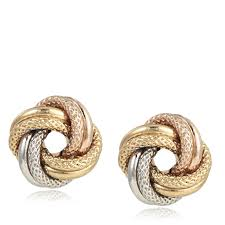 gold earrings 9ct gold tri colour textured knot stud earrings qvc uk