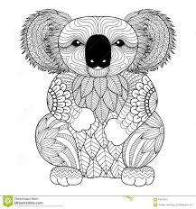 drawing zentangle koala for coloring page shirt design effect