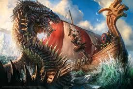 the kraken spite by caiomm sea monster female barbarian vikings