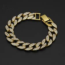 cuban chain link bracelet images 2018 shiny crystal cubic zirconia 18k gold miami cuban link chain jpg