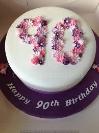 90th birthday cakes delicate pink purple and white flowers on this 90th birthday cake