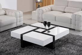 table basse carrée noir et blanc laqué avec 4 compartiments jumet