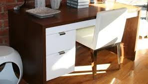 Modern Desk With Drawers Www Roomservicestore Walnut Desk With 2 Drawers In White Finish