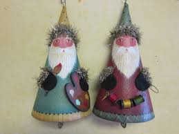 canvas cone santa ornaments easily painted flat rolled and glued