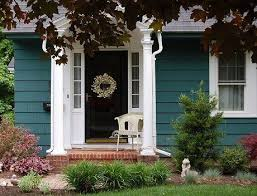 image result for teal houses with mustard trim house exteriors