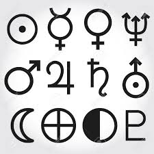 zodiac and astrology symbols of the planets royalty free cliparts