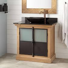 solid oak vessel sink vanity signature hardware