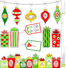 Christmas Ornaments Clipart Retro Pencil And In Color Christmas