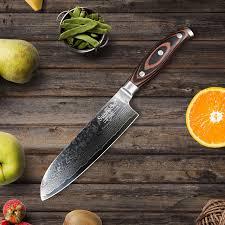 razor sharp kitchen knives sunnecko 7 santoku damascus kitchen knife japanese vg10 steel