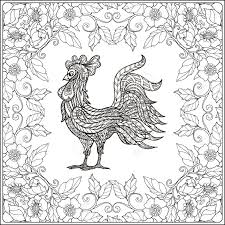 rooster in floral frame coloring book for and older