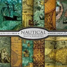 Paper Maps Nautical Scrapbook Paper Nautical Digital Paper Sea Digital