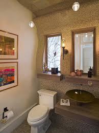 nautical themed bathroom wallpaper wicker waste basket yellow down