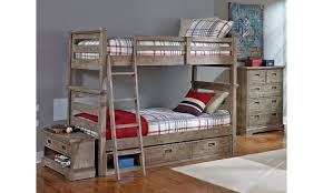 Twin Over Twin Bunk Beds With Trundle by Oliver Solid Acacia Twin Over Twin Bunk Bed Haynes Furniture