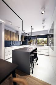 kitchen design with black appliances kitchen cabinets and black table white wood flooring white