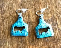 cow tag earrings cow tag earrings etsy