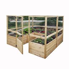 Home Depot Outdoor Decor 8 Ft X 8 Ft Cedar Raised Garden Bed With Deer Fencing Kit