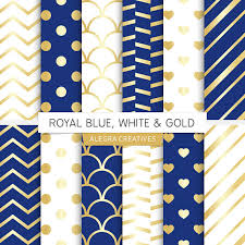 royal blue wrapping paper royal blue white gold digital paper white and gold blue