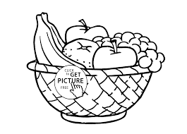 a bowl of fruits coloring page for kids fruits coloring pages